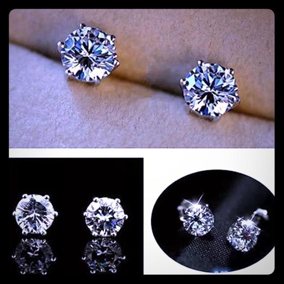 78469a8fadbd1 18k White Gold Filled Nickel Free CZ Diamond Studs Boutique